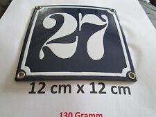 Hausnummer Nr. 27 weisse Zahl auf blauem Hintergrund 12 cm x 12 cm Emaille Neu