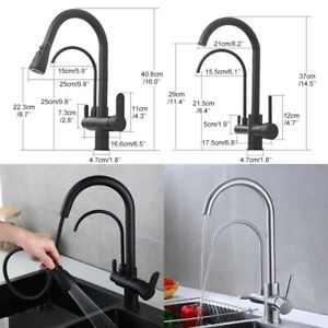Deck Mounted Black Kitchen Faucets Pull Out Filter Tap Sink Mixer Kitchen Faucet