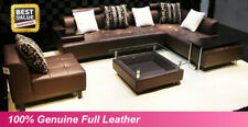 NEW Large Brown 100% Full Italian Leather Corner Sofa Settee Suite--Top Quality,