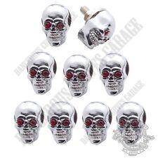 9 Show Chrome Metal - Red Gem Eye Skull - Bolts For Harley Windshield Kit