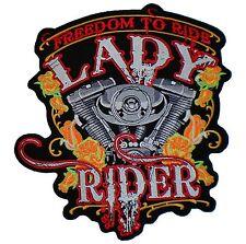 "LADY RIDER Freedom To Ride V Twin Biker Rider Big XL Back Jacket Vest Patch 9.8"""
