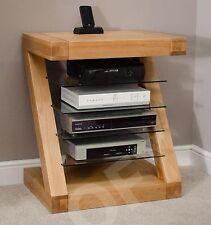Z hi-fi cabinet DVD console 4 shelf storage unit solid oak designer furniture