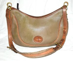 Vintage Dooney & Bouke All Weather Leather Olive & Brown Pebbled Hobo Bag USA