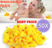 100 WHOLESALE Yellow Rubber Ducks Squeaky Bath Toys Water Play Toddler DUCK UK