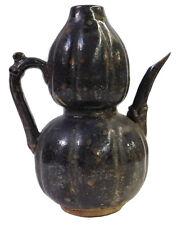 Chinese Oriental Ceramic Rustic Distressed Black Vase cs1908