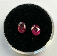 RUBELLITE TOURMALINE x 2 NATURAL MINED GEMSTONES TOTAL 1.25Ct