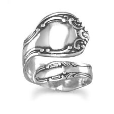 Spoon Ring Adjustable Size 6-11 oxidized sterling silver swirl motif spoon ring