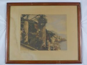 Antique 1904 Hand Colored Photo The Pergola Amalfi by Wallace Nutting Listed