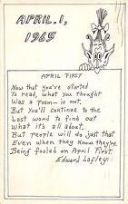 A33/ Artist Signed Postcard Ed Lafley Agawam Mass. HAND-DRAWN 1965 April Fools25