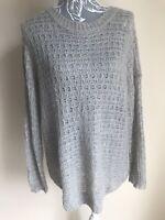 Atmosphere Womens Jumper Size 16 Grey Oversized Crochet Long Sleeved Acrylic