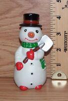 Unbranded Christmas Snowman Holding a Shovel Ceramic Figurine **READ**