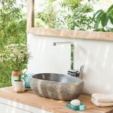 WOHNFREUDEN Naturstein-Waschbecken 40 cm OVAL grau Steinwaschbecken Gäste WC