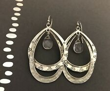SILPADA W1681 Sterling Silver Double Hoop Drop Glass Faceted Earrings Etched