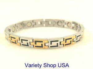 Stainless Steel Magnetic Multi-Color Bracelet Gold, Silver & Black SS995-3T