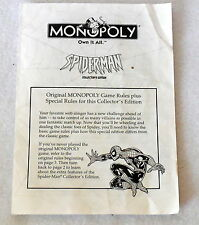 2002 SPIDERMAN EDITION MONOPOLY replacement PARTS INSTRUCTION RULES BOOKLET