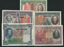 LOTE 5 BILLETES 1925 / 1931 AGUILA DE SAN JUAN BURGOS CIVIL RESELLO FRANCO falan
