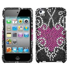 for iPod Touch 4th Gen -Pink Vine Heart Diamond Bling Rhinestone Hard Case Cover