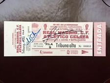 Signed Ticket Tribute Butragueńo Michel 8-10-96 Real Madrid At Celaya