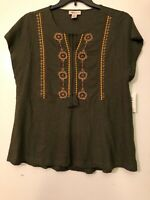 New Style & Co Woman's Embroidered Peplum Peasant Top  Olive  Plus Sizes   L14