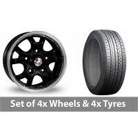 """4 x 16"""" Calibre Dominator Black Polished Alloy Wheel Rims and Tyres -  205/65/16"""
