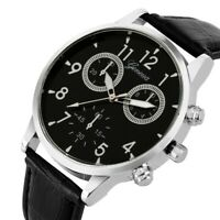 MIGEER Watch Business Style Men's Quartz Analog Wrist Watches Black Leather Band