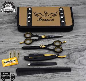 "Professional Barber Hair Cutting Beard Hairdressing Scissors Set + Thinning 5.5"""