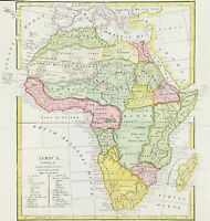 Map of Africa and Mediterranean by Wilkinson c1800 engraved coloured antique