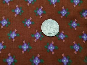 Vintage Peter Pan Cotton Fabric Brown Calico Small Purple Floral Print Flowers