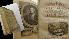 LOCKE - ESSAI PHILOSOPHIQUE CONCERNANT L'ENTENDEMENT HUMAIN - 1754