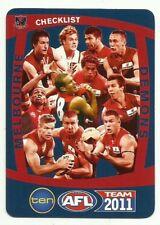 2011 AFL TEAMCOACH MELBOURNE DEMONS TEAM CHECKLIST CARD