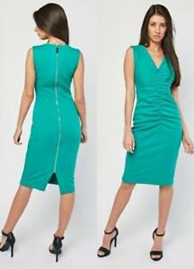 Ladies Green Ruched Front Center back Zip V Neck Lined Bodycon Dress Size 10
