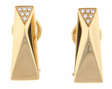 Versace La Bague 18k Yellow Gold And Diamond Earrings Retired