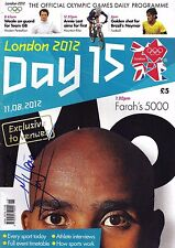 Mo Farah Genuine Hand Signed London 2012 Olympic Programme Day 15 AFTAL COA (B)