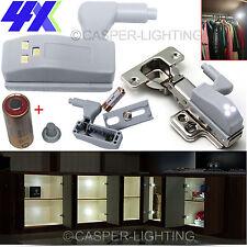 4 x LED KITCHEN LIGHT CUPBOARD DOORS CABINET HINGES LIGHTING WARDROBE SHELF KIT