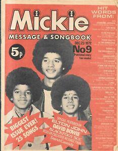 vintage Mickie Songbook lyric paper No 9 Dec 23rd 1972 Beatles David Cassidy