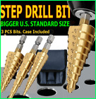 3Pcs Drill Bit Set Titanium Nitride Coated Steel Step Quick Change 1/4 Shank HSS