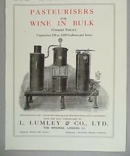 L. Lumley Pasteurizer for Wine in Bulk PRINT AD - 1928
