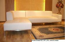 2 PC Modern contemporary design white Leather Sectional sofa + chaise set #1008