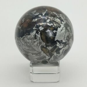 Natural Seymchan Pallasite Meteorite Etched Sphere Mantel Display Collection #04