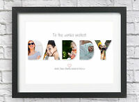 Bespoke Personalised DADDY Collage Print Photos Happy Birthday Dad Word Art Dada