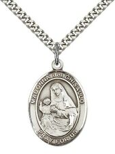 "Sterling Silver St. Madonna Del Ghisallo Pendant 24"" Chain 7203SS/24S"