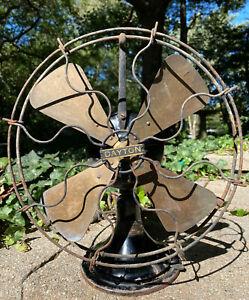 "Vintage Dayton Type 25 32vDC 12"" Brass Blade Desk Fan Circa 1912"