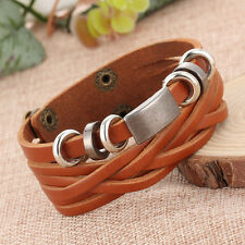 Charm Men's Braided Wristband Leather Stainless Steel Bracelet Cuff Bangle Gifts