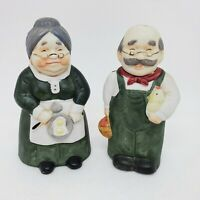 Vintage Pair Trippies Porcelain Bells Old Farmer Wife Chicken Eggs Basket Bisque