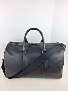 COACH F83962 Trekker Carry On Duffle Travel Bag Men's Leather Black NWT