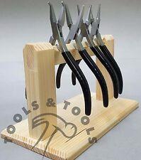 Economia SLIM LINE Pinze Set FLAT ROUND Chain & Bent Nose Jaws 4 PZ + Rack in legno