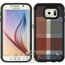 Samsung Galaxy S6 Hybrid Case Comfort Series Red/Gray Plaid Case Cover  Shield