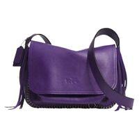 Coach Dakotah Purple Violet Leather Cross Body Bag Whipstitch 33935 Fringe Chain