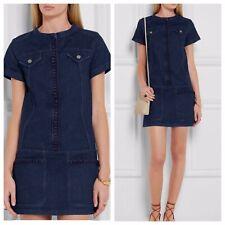 See By Chloe Size 36 Stretchy Denim Blue Embroidered Dark Wash Jean Mini Dress