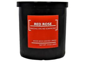 Red Rose Scented Wood Wick Soy Candle